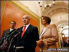 Benjamin Netanyahu with Nancy Pelosi and John Boehner