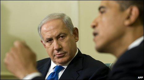 Israeli Prime Minister Benjamin Netanyahu listens to US President Barack Obama speak.