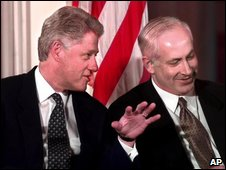 Then President Clinton with Mr Netanyahu in 1998