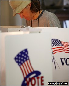 A man casts his vote in Pasadena, California, 19 May