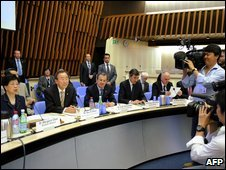 UN leaders meet representatives of pharmaceutical companies in Geneva, 19 May