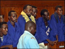 Suspected pirates in a Kenyan court