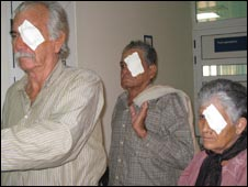 Patients with patches on one eye after having had an operation