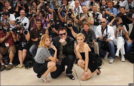 Diane Kruger, Quentin Tarantino and Melanie Laurent