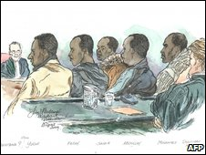 An artist's drawing of suspected pirates at a Rotterdam Court
