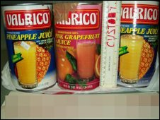 Fruit juice tins