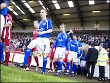 Queen of the South take to the field against Nordsjaelland at Excelsior Stadium