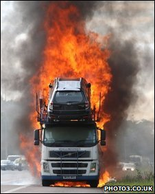 Car transporter on fire on the M2