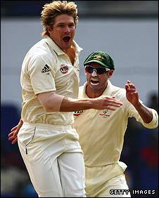 Shane Watson celebrates a wicket for Australia