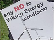 Shetland Viking Energy windfarm protest