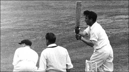 Dennis Compton hits the winning runs for England at the Oval