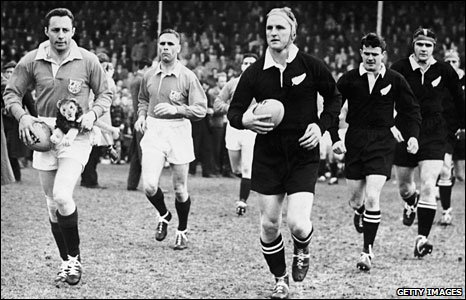 Opposing captains Ronnie Dawson and Wilson Whineray lead their sides out for the first Test in New Zealand in 1959