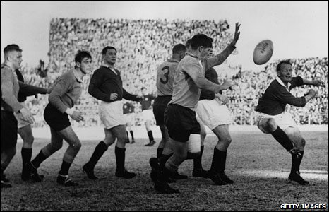 Scrum-half Dicky Jeeps clears the ball against Northern Transvaal on the 1962 South Africa tour