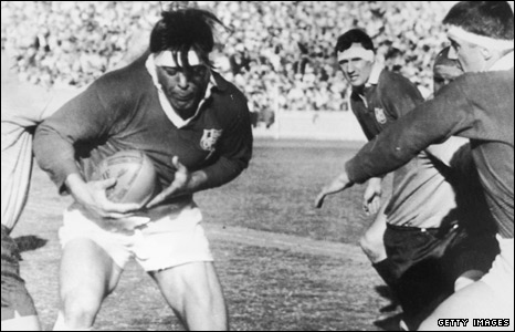 Captain Mike Campbell-Lamerton in action in the first Test against Australia on the 1966 tour