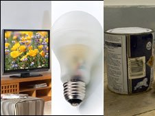 Flat-screen TV, low-energy lightbulb and paint tin