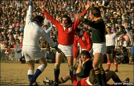 "Gareth Edwards celebrates victory with the ""invincible"" 1974 Lions in South Africa"