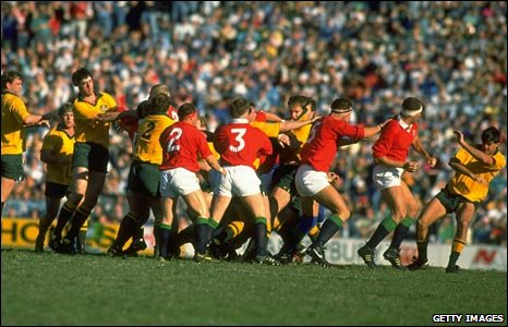 The Lions brawl with Australia during the fractious 1989 Test series