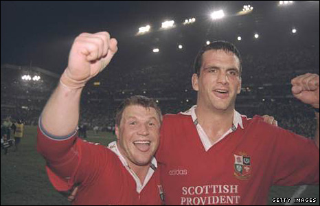 Scott Gibbs and Martin Johnson celebrate the memorable 1997 series win in South Africa