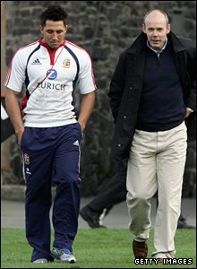 Coach Clive Woodward and Gavin Henson pose for a staged photo on the spin doctor-managed 2005 tour to New Zealand