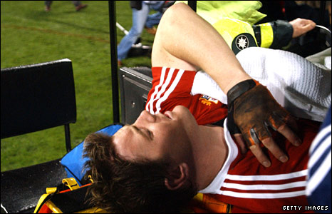 Captain Brian O'Driscoll is stretchered off in the first Test of 2005 as the Lions crash to a heavy 3-0 series defeat