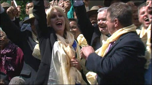 Joanna Lumley and Gurkhas celebrate