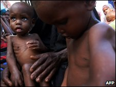 Malnourished children at a camp for internally displaced people on the outskirts of Mogadishu on 16 May 2009