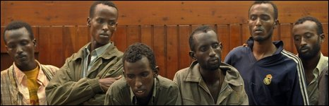Suspected Somali pirates appear at court in Mombasa on 23 April 2009