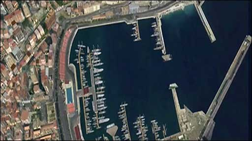 An ariel view of the Monte Carlo Grand Prix circuit
