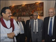 President Rajapaksa (left) with Indian National Security Adviser MK Narayanan (second right) and Indian Foreign Secretary Shivshankar Menon
