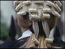 Back of barrister wearing a wig