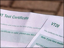 MOT certificates - newer one on the left
