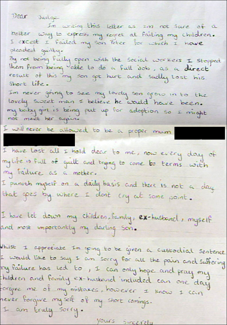 BBC NEWS UK Mothers letter of apology