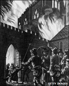 Wat Tyler's mob burning St John's Monastery near Smithfield, London