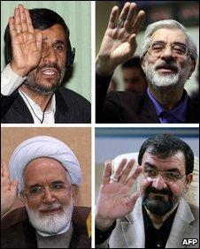 Top: Mahmoud Ahmadinejad, Mir-Hossein Mousavi. Bottom: Mehdi Karoubi, Mohsen Rezai