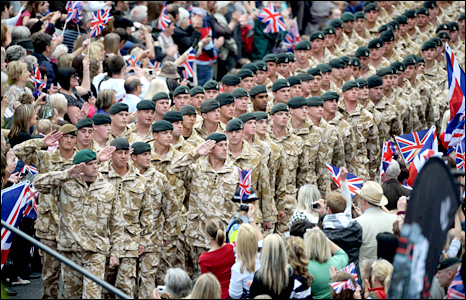1st Battalion The Rifles Parade on their return from Afghanistan (Photo by Barry Batchelor/PA Wire)