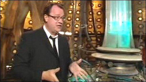 Russell T. Davies inside the TARDIS