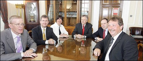 DUP ministers Gregory Campbell MP, Jeffrey Donaldson MP, Arlene Foster MLA, Peter Robinson MP, Nigel Dodds MP and Sammy Wilson MP