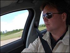 BBC business reporter Jorn Madslien drives a Jaguar XF