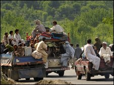 Refugees leaving the Swat Valley