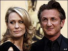 Sean Penn with wife Robin Wright Penn