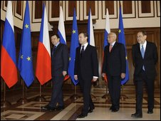 Russian President Dmitry Medvedev (2L), Czech President Vaclav Klaus (2R), EU foreign policy chief Javier Solana (R) and EU commission chief Jose Manuel Barroso (L)