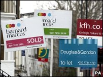 Estate agent signs in a residential street in London