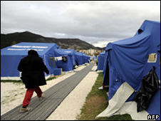 Tents for homeless people near L'Aquila