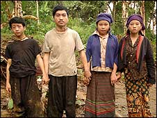 Hmong family living in a rebel-held area of Laos