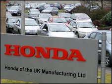 Staff leave the Honda plant in Swindon (file photo)