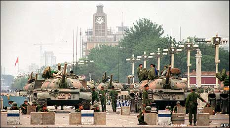 PLA troops guard a strategic avenue leading to Tiananmen Square (6 June 1989)