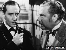 "Basil Rathbone and Nigel Bruce in ""The Adventures of Sherlock Holmes"""