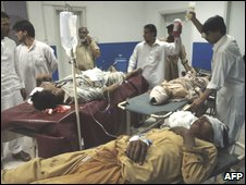 At least 70 people were injured in the blast in Peshawar