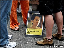 Placard of Aung San Suu Kyi