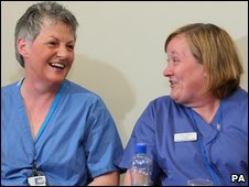 Midwifery Sister Patricia Denvir (left) and Jo Dooley